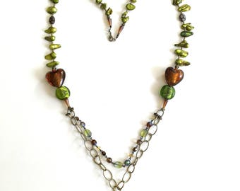 Hand made mixed bead ant.gold chain necklace with chartreuse freshwater pearls,lamp glass & Czech glass beads,beaded chain,citrine pendant