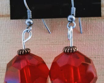 Gorgeous Red Faceted Crystal Drop Earrings