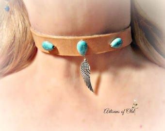 Tan Leather Choker, Black Leather, Turquoise and Feather Choker