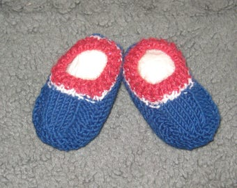 Hand knitted baby booties - red, white and blue