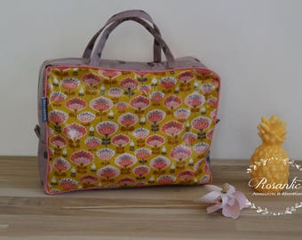 Flowers waterproof coated suitcase bag mustard yellow and purple - Kids Toy bag, toiletry bag, Tablet pouch