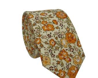 """Orange Floral Tie 2.4""""   skinny tie   wedding   mens floral ties   floral ties   groomsmen"""