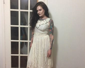 Vintage Hibis Lace Sundress with Beading and Tie
