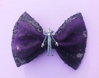 Jack Skellington Nightmare Before Christmas Disney Inspired Hair Bow