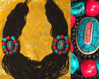 Necklace ethnic black multi-row