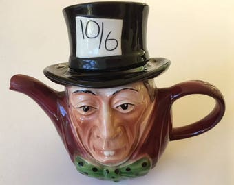 Vintage Tony Wood Staffordshire Mad Hatter teapot, circa 1980's