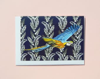 Macaw Parrot A6 Notelet, Greetings Card