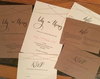 Lights Wedding Invitation set SAMPLE