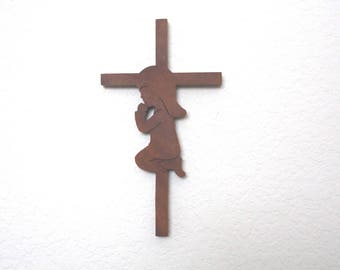 Cross with a Girl Praying