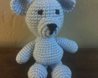 Knit Blue Amigurumi Bear