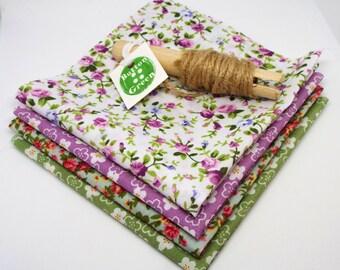 Ditsy Floral Purple and Green Bundle poly cotton fabric x4, fat quarters, 25cm x 25cm