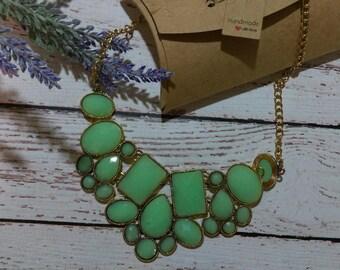 Green Gold Necklace Boho Bohemian Stone Jewelry