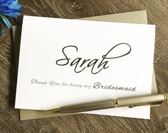 bridesmaid thank you card, Thank you bridesmaid, Thank you for being my Bridesmaid card, Bridesmaid gift, maid of honor gift,bridesmaid card