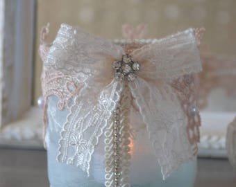 Candle holder shabby chic lace