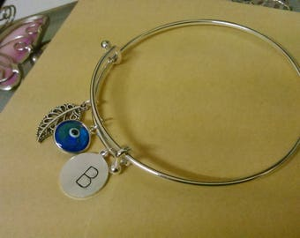 Evil Eye Bracelet, Silver plated minimalistic with charms, Personalised Hanstamped with the first letter of you name