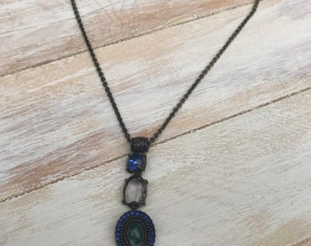 Dark Blue Jeweled Short Chain Necklace