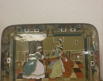 Antique Pottery Deldare Ware Serving Tray