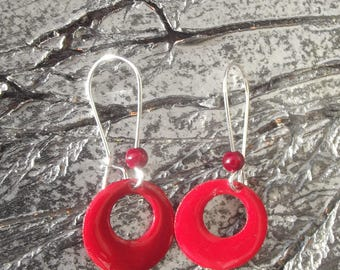 """Magical"" red pearl earrings with sleeper hooks silver, small sequin round openwork bright red enamel and small."