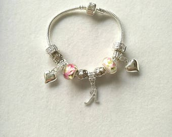 European bracelet with beads floral version, personalized silver letter