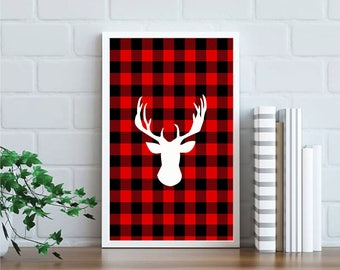 8x10 Buffalo Plaid Christmas Printable, Merry Christmas Wall Art Print, christmas decor, rustic christmas, buffalo plaid print