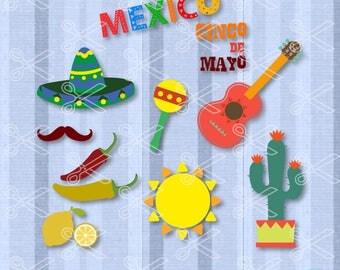 Cinco de Mayo SVG, PNG, DXF, Eps Cutting Files, Fiesta Svg Cut File, Mexico Svg, Guitar Maracas Svg, Pinata Sombrero Svg, Mexican Svg