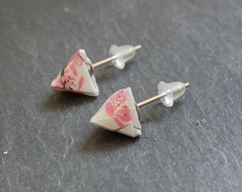 Origami - triangles in Cherry Blossom earrings