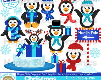 Christmas Penguins clipart set, personal and commercial use vector, winter Xmas, digital clip art set.