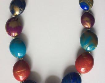 Retro 1980's Gold Blue Red Purple Statement Necklace