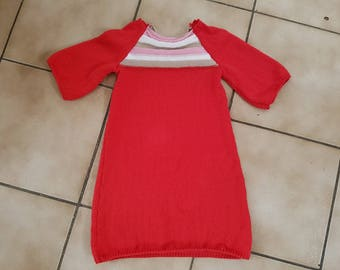 Red dress t. 4 years hand knit