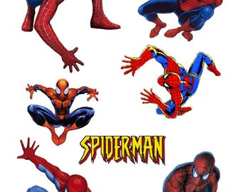 Set of 7 Stickers stickers Spiderman comics printed vinyl cartoon Waterproof cutout to Plotter format A4 or A3 for car or moto spider