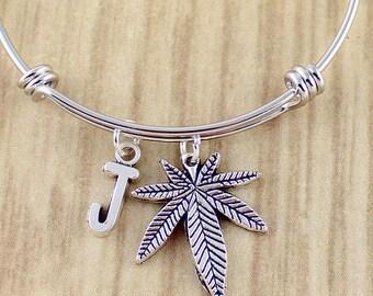 Initial Pot Leaf Bangle Bracelet | Pot Leaf Charm Bracelet | 420 Stoner Gifts | Weed, Pot, Marijuana Jewelry Gift Ideas | Brand New Hot Shop