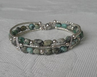 Natural African Turquoise and Silver Bracelet