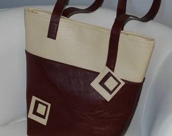 Beige/brown leather tote handbag