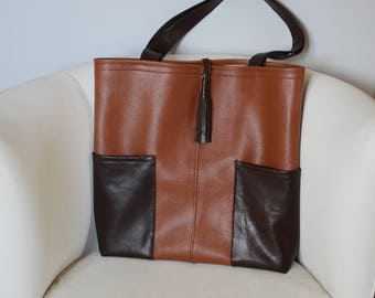 Brown faux leather/Brown Leather handbag