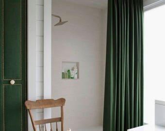 Velvet Shower Curtain Green Velvet Shower Curtain Navy Velvet Shower  Curtain Extra Long Shower Curtain Boho
