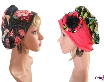 """REVERSIBLE """"Gwen"""" beret in wax & its removable fabric flower"""