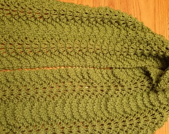 Sage Green Hand-knit Lacy Scarf