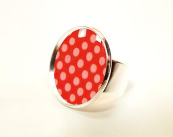 Red rose cabochon ring