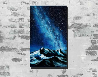 Winter painting Milky Way Oil painting on canvas night sky Galaxy stars painting Starry night art Space art Snow mountains Milky Way art