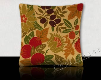 Pillow pattern design tropical fruits and flowers - red raspberry/green/moss green khaki/paprika/Eggplant on a beige background