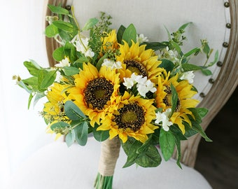 Sunflowers Bouquet Bridal Wedding Flowers Rustic Silk