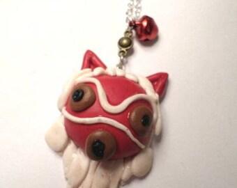 Necklace masks Princess Mononoké Fimo