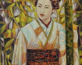In the forest of bamboo - original painting of Japanese inspiration