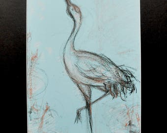 Crane - Japanese crane on colored paper