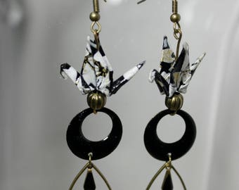 Earrings black white cranes and Golden origami - cherry blossom pattern