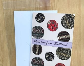 With Love from Shetland Greetings card, Fair Isle detail