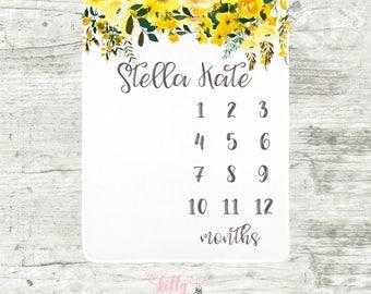 Yellow Floral Milestone Blanket, Month Baby Blanket, Personalized Baby Blankie, Baby Girl Blanket, Watch Me Grow Blanket, Flower Blanket