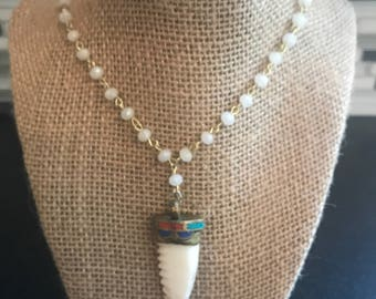 White or Blue Beaded Chain Tooth Necklace