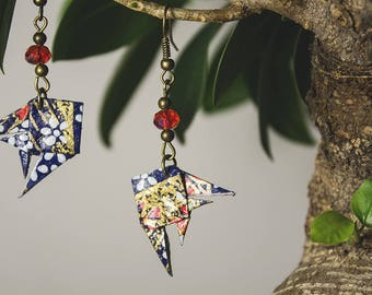 Origami fish earrings-Washi Japanese paper-blue and gold-anniversary gift-personalized gift-handmade-concept