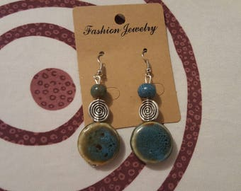 hook and silver metal bead, Pearl Blue ceramic earrings